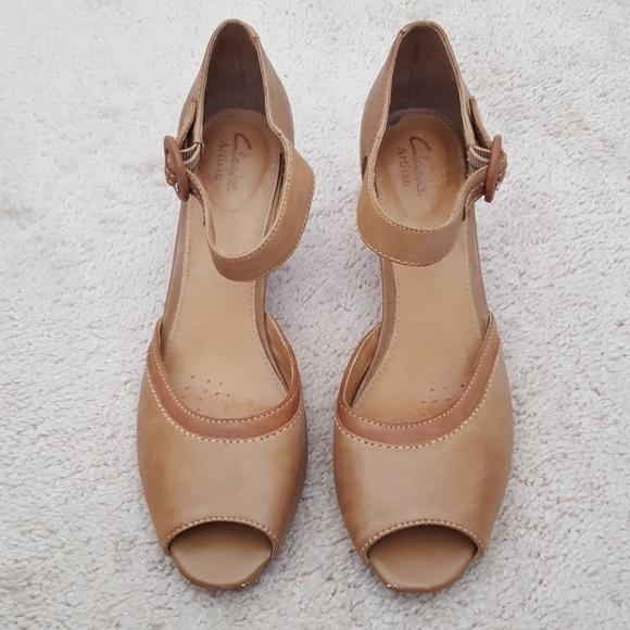 634c17632fca Clarks Artisan leather peep tie heels size 9 M